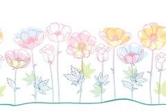 Διανυσματικό άνευ ραφής σχέδιο του λουλουδιού ή Windflower Anemone περιλήψεων, οφθαλμός και φύλλο στο ρόδινο, πορτοκαλί και μπλε  διανυσματική απεικόνιση