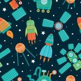 Διανυσματικό άνευ ραφής σχέδιο των διαστημικών τεχνικών για τα παιδιά διανυσματική απεικόνιση
