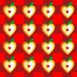 Διανυσματικό άνευ ραφής σχέδιο των καρδιών Καρδιά τυποποιημένη στο μήλο Στοκ Εικόνα