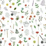 Διανυσματικό άνευ ραφής σχέδιο των χρωματισμένων εργαλείων κήπων, λουλούδια, χορτάρια, εγκαταστάσεις απεικόνιση αποθεμάτων