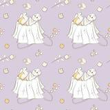 Διανυσματικό άνευ ραφής σχέδιο των hand-drawn στοιχείων doodle Μωρό, λουλούδια, διακοσμήσεις, φύλλα Χρησιμοποιημένος για τα υπόβα ελεύθερη απεικόνιση δικαιώματος