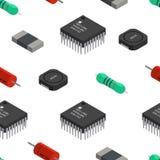 Διανυσματικό άνευ ραφής σχέδιο των izometric ηλεκτρονικών συστατικών Capa διανυσματική απεικόνιση