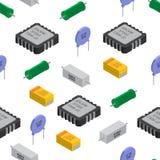 Διανυσματικό άνευ ραφής σχέδιο των izometric ηλεκτρονικών συστατικών Capa ελεύθερη απεικόνιση δικαιώματος