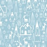 Διανυσματικό άνευ ραφής σχέδιο Χριστουγέννων με τα παιχνίδια Χριστουγέννων διανυσματική απεικόνιση