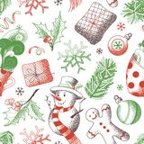 Διανυσματικό άνευ ραφής σχέδιο Χριστουγέννων στοκ εικόνα με δικαίωμα ελεύθερης χρήσης
