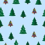 Διανυσματικό άνευ ραφής σχέδιο χριστουγεννιάτικων δέντρων Χειμερινό δάσος, δέντρα πεύκων διανυσματική απεικόνιση