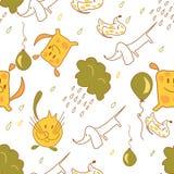 Διανυσματικό άνευ ραφής σχέδιο αποθεμάτων των σκυλιών και των γατών με τα σύννεφα βροχής Στοκ Εικόνες