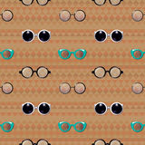 Διανυσματικό άνευ ραφής σχέδιο γυαλιών Hipster διανυσματική απεικόνιση