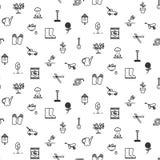Διανυσματικό άνευ ραφής σχέδιο εικονιδίων γραμμών εργαλείων κήπων Στοκ Εικόνα