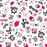Διανυσματικό άνευ ραφής σχέδιο ημέρας βαλεντίνων s Απομονωμένα καλλιτεχνικά σχέδια doodle, εγγραφή, αποσπάσματα αγάπης ελεύθερη απεικόνιση δικαιώματος