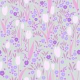Διανυσματικό άνευ ραφής σχέδιο, θερινό λιβάδι με τα λουλούδια Στοκ Εικόνες