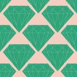 Διανυσματικό άνευ ραφής σχέδιο διαμαντιών ή κρυστάλλου στα πράσινα και ρόδινα χρώματα Στοκ εικόνες με δικαίωμα ελεύθερης χρήσης