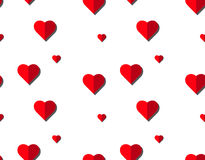 Διανυσματικό άνευ ραφής σχέδιο καρδιών στο άσπρο υπόβαθρο, απεικόνιση γραφική για την ημέρα βαλεντίνων ` s, ημέρα μητέρων, κάρτα  στοκ εικόνες