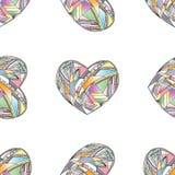 Διανυσματικό άνευ ραφής σχέδιο καρδιών Συρμένο χέρι τυποποιημένο υπόβαθρο αγάπης Στοκ Εικόνα