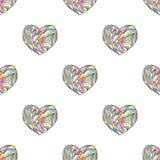 Διανυσματικό άνευ ραφής σχέδιο καρδιών Συρμένο χέρι τυποποιημένο υπόβαθρο αγάπης Στοκ Φωτογραφίες