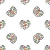 Διανυσματικό άνευ ραφής σχέδιο καρδιών Συρμένο χέρι τυποποιημένο υπόβαθρο αγάπης Στοκ Εικόνες