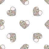 Διανυσματικό άνευ ραφής σχέδιο καρδιών Συρμένο χέρι τυποποιημένο υπόβαθρο αγάπης Στοκ φωτογραφία με δικαίωμα ελεύθερης χρήσης