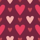 Διανυσματικό άνευ ραφής σχέδιο καρδιών Στοκ Φωτογραφίες