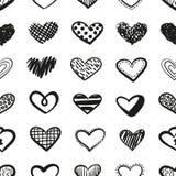 Διανυσματικό άνευ ραφής σχέδιο καρδιών Doodles στοκ φωτογραφία