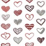 Διανυσματικό άνευ ραφής σχέδιο καρδιών Doodles απεικόνιση αποθεμάτων