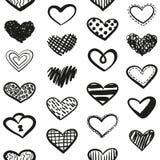 Διανυσματικό άνευ ραφής σχέδιο καρδιών Doodles διανυσματική απεικόνιση