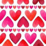 Διανυσματικό άνευ ραφής σχέδιο καρδιών Watercolor Στοκ Φωτογραφίες