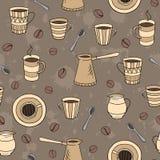 Διανυσματικό άνευ ραφής σχέδιο καφέ Στοκ Εικόνα