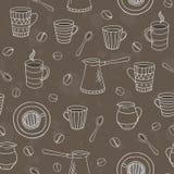 Διανυσματικό άνευ ραφής σχέδιο καφέ Στοκ εικόνα με δικαίωμα ελεύθερης χρήσης