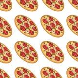Διανυσματικό άνευ ραφής σχέδιο με με τη νόστιμη πίτσα Στοκ φωτογραφίες με δικαίωμα ελεύθερης χρήσης
