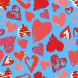 Διανυσματικό άνευ ραφής σχέδιο με συρμένες τις χέρι grunge καρδιές ελεύθερη απεικόνιση δικαιώματος