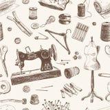 Διανυσματικό άνευ ραφής σχέδιο με συρμένο το χέρι ράψιμο και απεικόνιση αποθεμάτων
