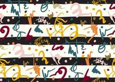 Διανυσματικό άνευ ραφής σχέδιο με συρμένο το χέρι χέρι κτυπημάτων και λωρίδων βουρτσών που χρωματίζεται Μαύρος, χρυσός, άσπρος, ρ Στοκ εικόνα με δικαίωμα ελεύθερης χρήσης
