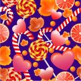 Διανυσματικό άνευ ραφής σχέδιο με τα γλυκά και lollipops Απεικόνιση αποθεμάτων