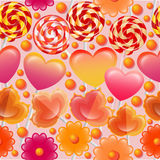 Διανυσματικό άνευ ραφής σχέδιο με τα γλυκά και lollipops Στοκ Εικόνες