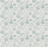 Διανυσματικό άνευ ραφής σχέδιο με τα εικονίδια επιχειρήσεων και χρημάτων Στοκ Εικόνες