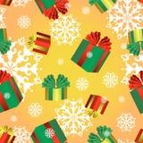 Διανυσματικό άνευ ραφής σχέδιο με τα ζωηρόχρωμα κιβώτια των δώρων και snowflakes Χριστουγέννων Νέα ανασκόπηση έτους ή Χριστουγένν Στοκ Εικόνες