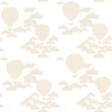 Διανυσματικό άνευ ραφής σχέδιο με τα ζωηρόχρωμα μπαλόνια ζεστού αέρα στον ουρανό Στοκ Εικόνα
