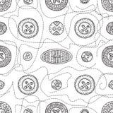 Διανυσματικό άνευ ραφής σχέδιο με τα κουμπιά υφασμάτων στο ύφος boho Στοκ Φωτογραφία