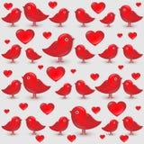 Διανυσματικό άνευ ραφής σχέδιο με τα κόκκινα πουλιά κινούμενων σχεδίων Ελεύθερη απεικόνιση δικαιώματος