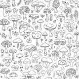 Διανυσματικό άνευ ραφής σχέδιο με τα μανιτάρια autumnal forest Στοκ Εικόνα