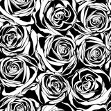 Διανυσματικό άνευ ραφής σχέδιο με τα μαύρα λουλούδια τριαντάφυλλων Στοκ φωτογραφίες με δικαίωμα ελεύθερης χρήσης