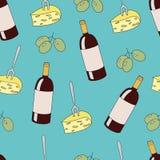 Διανυσματικό άνευ ραφής σχέδιο με τα μπουκάλια, το τυρί και τα σταφύλια κρασιού Στοκ Εικόνα