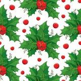 Διανυσματικό άνευ ραφής σχέδιο με τα πράσινα φύλλα περιλήψεων και τα κόκκινα μούρα Ilex ή η ευρωπαϊκή Holly στο άσπρο υπόβαθρο Στοκ φωτογραφία με δικαίωμα ελεύθερης χρήσης
