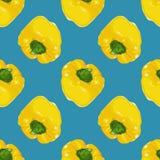 Διανυσματικό άνευ ραφής σχέδιο με τα ρεαλιστικά κίτρινα πιπέρια κουδουνιών Στοκ Φωτογραφίες