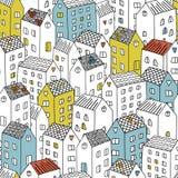 Διανυσματικό άνευ ραφής σχέδιο με τα σπίτια Στοκ Φωτογραφίες