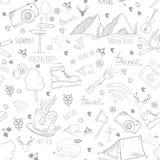 Διανυσματικό άνευ ραφής σχέδιο με τα στοιχεία στρατοπέδευσης Στοκ Εικόνες