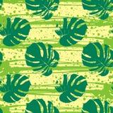 Διανυσματικό άνευ ραφής σχέδιο με τα τροπικά φύλλα Στοκ Φωτογραφίες