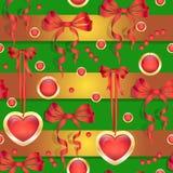 Διανυσματικό άνευ ραφής σχέδιο με τα τόξα και τις καρδιές Απεικόνιση αποθεμάτων