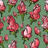 Διανυσματικό άνευ ραφής σχέδιο με τα χέρι-σκιαγραφημένα τριαντάφυλλα Απεικόνιση αποθεμάτων