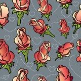 Διανυσματικό άνευ ραφής σχέδιο με τα χέρι-σκιαγραφημένα τριαντάφυλλα Διανυσματική απεικόνιση